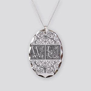 WU, initials, Necklace Oval Charm