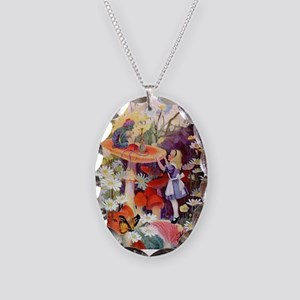 Alice Asks Advice From the Cat Necklace Oval Charm