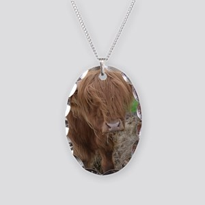 Young Highland Cow Necklace Oval Charm