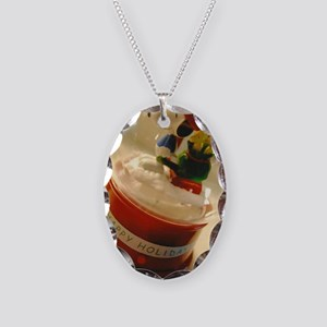 Happy Holidays Necklace Oval Charm