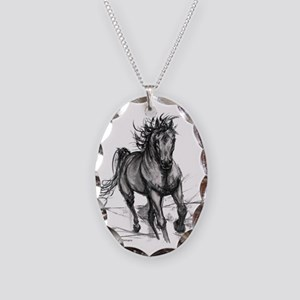 Coming Through Horse Necklace Oval Charm