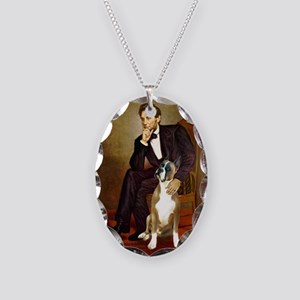 Lincoln & his Boxer Necklace Oval Charm