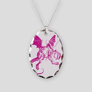 Jabberwocky Pink Necklace Oval Charm