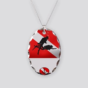 Wreck Diver 2 (back)(white) Necklace Oval Charm