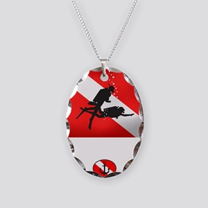 Salvage Diver 2 (back)(white) Necklace Oval Charm