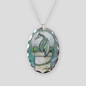 Green Dragon Fantasy Art Necklace Oval Charm