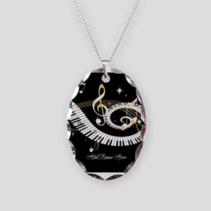 Personalized Piano Musical gi Necklace Oval Charm