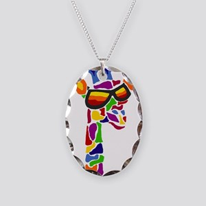 Giraffe in Sunglasses Necklace Oval Charm