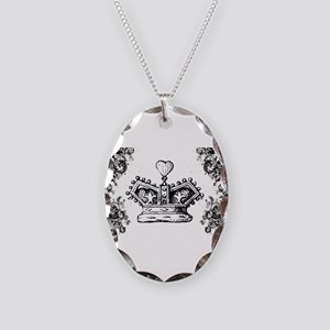 Queen's Crown Swirls Necklace Oval Charm