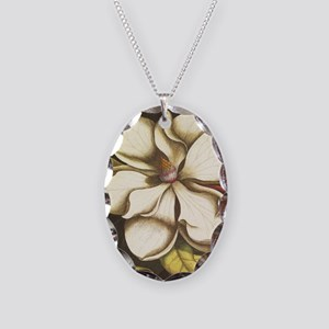 modern vintage fall magnolia f Necklace Oval Charm