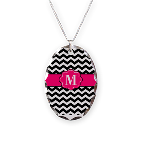 Black Pink Chevron Monogram Necklace
