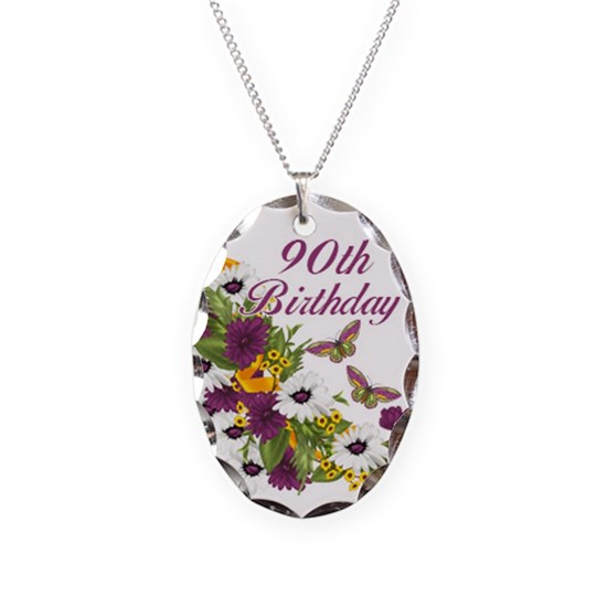 90th Birthday Floral And Butterfly Design