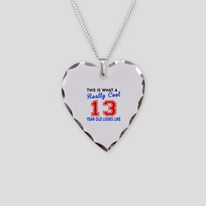 Really Cool 13 Birthday Desig Necklace Heart Charm