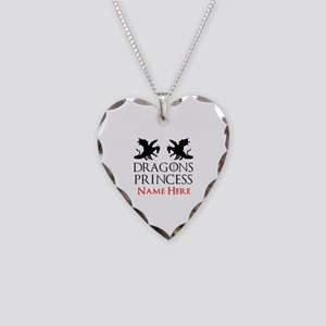 Dragons Princess Personalized Necklace Heart Charm