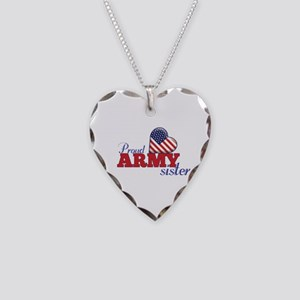 Proud Army Sister - Necklace Heart Charm