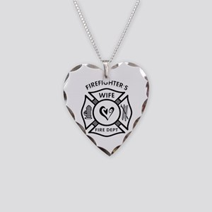 Firefighters Wife Necklace Heart Charm