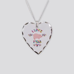 I Love Pigs Necklace Heart Charm