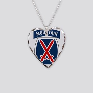 10th Mountain Necklace Heart Charm