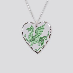 Green Dragon Necklace Heart Charm