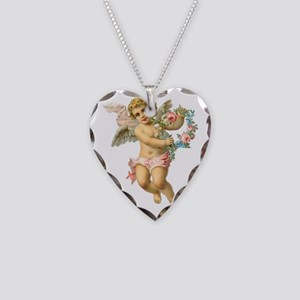 Cute Vintage Victorian Angel  Necklace Heart Charm