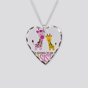 GiraffeBigSisterToBe Necklace Heart Charm
