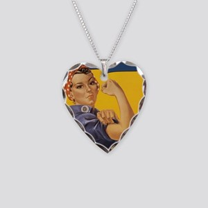 Rosie The Riverter Necklace Heart Charm