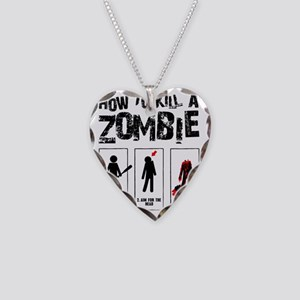 kill zombie Necklace Heart Charm