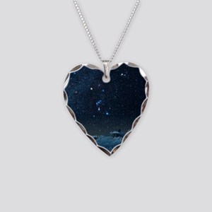 Winter sky with Orion constel Necklace Heart Charm