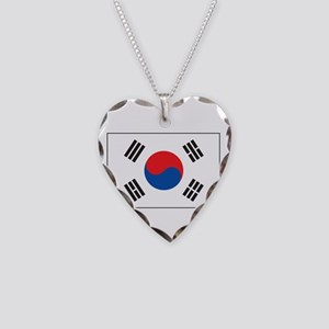 South Korea Flag Necklace Heart Charm
