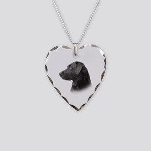 Black Lab Necklace Heart Charm