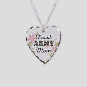 Proud Army Mom Necklace Heart Charm