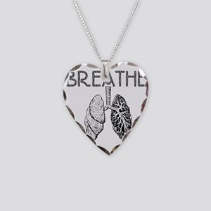BREATHE lungs Necklace Heart Charm