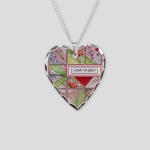Shana's Quilt Necklace Heart Charm