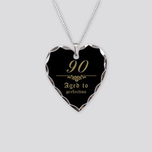 Fancy 90th Birthday Necklace Heart Charm