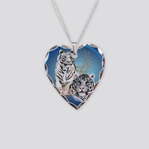 White Tigers -circle Necklace Heart Charm