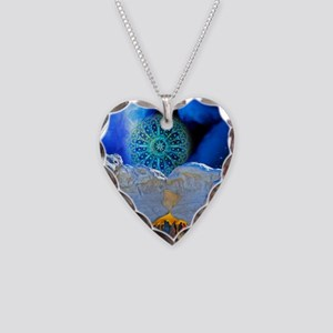 Winter Solstice Light round Necklace Heart Charm