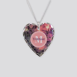 Colorful Mosaic Pattern Perso Necklace Heart Charm
