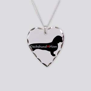 Dachshund Mom Necklace Heart Charm