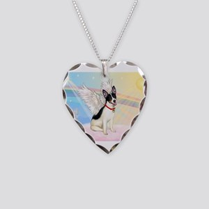 Clouds / Rat Terrier Necklace Heart Charm