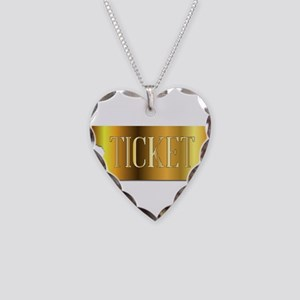Simple Golden Ticket Necklace Heart Charm