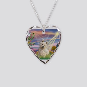Cloud Angel & Westie Necklace Heart Charm