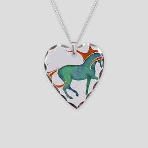 mosaic horse Necklace Heart Charm