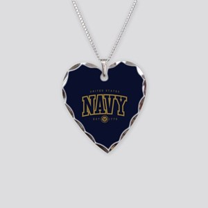 United States Navy Athletic Necklace Heart Charm