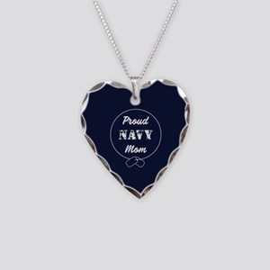 Proud Navy Mom Necklace Heart Charm