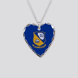 U.S. Navy Blue Angels Crest Necklace Heart Charm