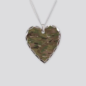Military Camouflage Pattern Necklace Heart Charm