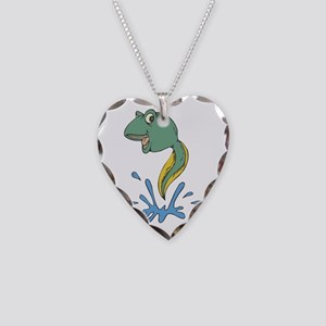 Cute Leaping Tadpole Necklace Heart Charm