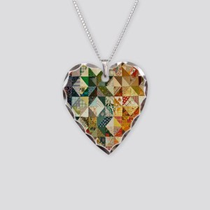 Fun Patchwork Quilt Necklace Heart Charm