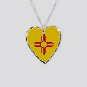 Flag of New Mexico Necklace Heart Charm