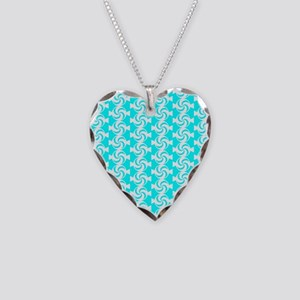 Aqua and White Sweet Peppermi Necklace Heart Charm